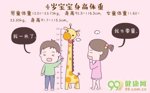 4岁宝宝身高体重 4岁宝宝发育指标 4岁宝宝护理要点