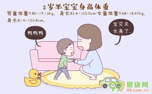 2岁半宝宝身高体重 2岁半宝宝护理要点 2岁半宝宝发育指标详解